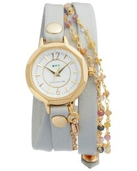 La Mer Collections Nolita Leather Wrap Strap Watch 22mm