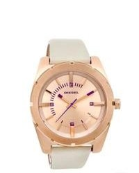 Diesel Dz5358 Beige Leather Quartz Watch With Rose Gold Dial