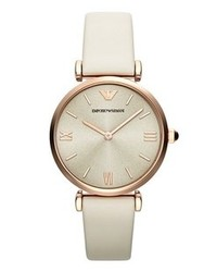 Emporio Armani Round Leather Strap Watch 32mm Nude Rose Gold