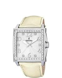Festina Silver Dial Beige Leather Strap Quartz Watch
