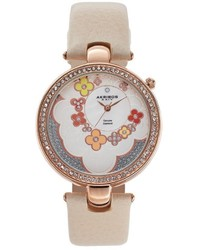 Akribos XXIV Fiora Diamond Leather Watch