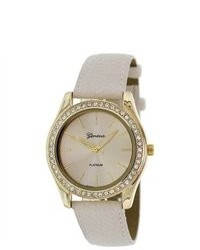 Geneva Platinum 9688horngold Beige Leather Quartz Watch With Beige Dial