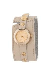 Geneva Platinum Faux Leather Analog Watch Beige