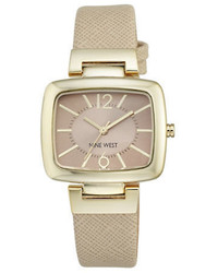 Nine West Goldtone Beige Textured Leather Strap Watch Nw 1856ntnt
