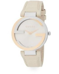 Gucci Stainless Steel 18k Yellow Gold Double G Croc Embossed Leather Watch