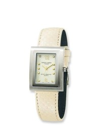 Joy jewelers charles hubert leather band beige dial watch medium 292657