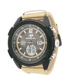 Mossy oak beige camouflage leather strap sport watch medium 292652