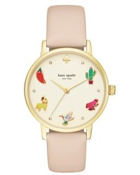 Kate Spade New York Metro Novelty Leather Strap Watch 34mm