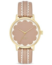 Kate Spade New York Round Vachetta Leather Strap Scalloped Dial Metro Watch 34mm