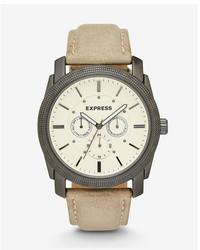 Express Rivington Multi Function Watch  Tan Leather
