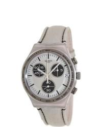 Swatch Denim Ycs574 Beige Leather Swiss Quartz Watch With Beige Dial