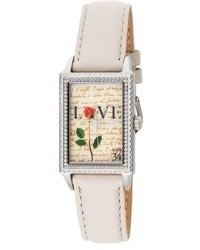 Proenza Schouler The Ps Collection By Arjang And Co Az 3006s Wh Love Letters White Leather Strap Watch And Sterling Silver Pendant Gift Set