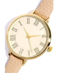 LuLu*s Time Can Tell Gold And Black Leather Watch