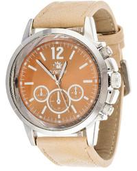 jcpenney Zunammy Zunammy Beige Leather Strap Watch