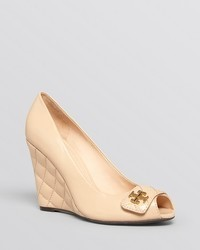 Tory Burch Peep Toe Wedge Pumps Leila Quilted