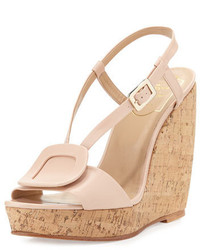 Leather halter wedge sandal beige medium 450171