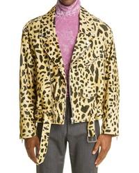 Dries Van Noten Vornlow Leopard Print Corduroy Moto Jacket