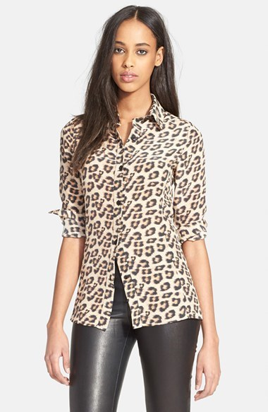 189465a8c ... Button Down Blouses Alice + Olivia Cal Leopard Print Silk Blouse ...