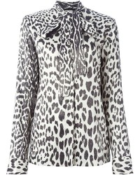 Haider Ackermann Leopard Print Tie Blouse