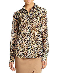 Leopard print silk blouse medium 321519