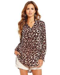 Gianni Bini Wyatt Leopard Print Shirttail Tunic Blouse