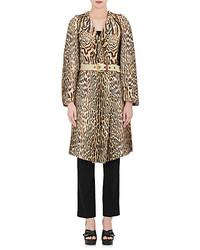 Chloé Chlo Leopard Print Cotton Blend Oversized Coat