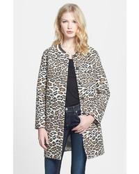 Maison Scotch Leopard Print Car Coat