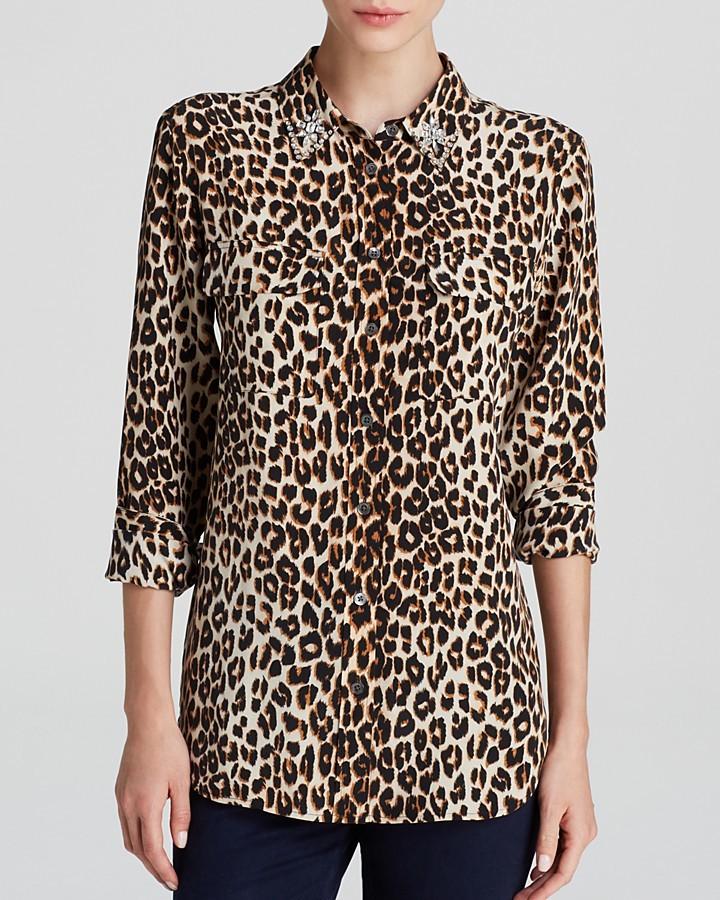 bb4d48bf0cb5 ... Equipment Leopard Print Slim Signature Jewel Collar Silk Blouse  Bloomingdales ...