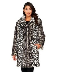 Dennis basso leopard print faux fox fur fully lined coat medium 123047