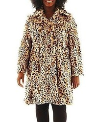 jcpenney Excelled Leather Excelled Faux Fur Swing Coat Plus