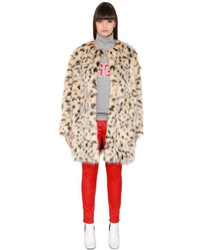 MSGM Faux Leopard Fur Coat