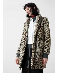 Mango Outlet Leopard Faux Fur Coat
