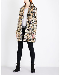 The Kooples Leopard Pattern Faux Fur Coat