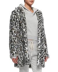 Pam Gela Faux Fur Leopard Print Coat