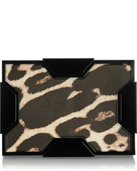 Lee savage space leopard print leather box clutch medium 349196