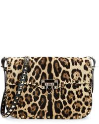 Leopard print calf hair flap bag medium 321449