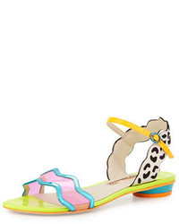 Sophia patti multicolored leather flat sandal eggnogblack medium 297070