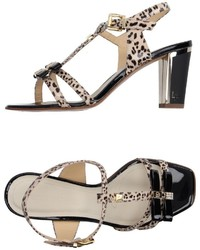 Beige Leopard Leather Heeled Sandals