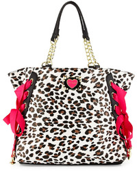 Betsey Johnson Mix Match Faux Leather Tote Bag Leopard