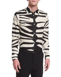 Burberry Prorsum Animal Print Long Sleeve Shirt Natural White