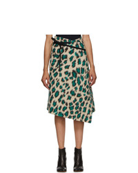 MM6 MAISON MARGIELA Beige Leopard Wrap Skirt