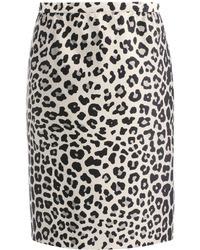 Satin leopard print pencil skirt medium 36537