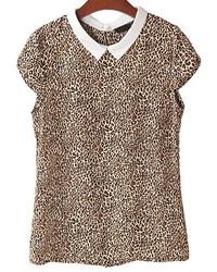 Leopard lapel short sleeve buttons blouse medium 274765