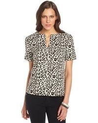 Walter W118 By Baker Black And Cream Leopard Jacquard Randi Short Sleeve Top