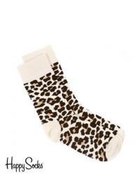 Happy Socks Leopard Print Socks Whiteblack