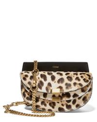 Chloé Georgia Convertible Leopard Print Calf Hair And Leather Belt Bag