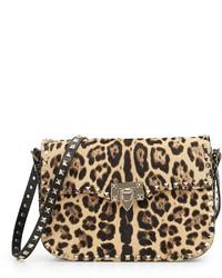 Valentino Leopard Print Calf Hair Flap Bag