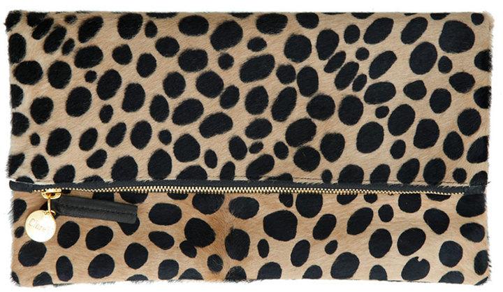 Clare Vivier Leopard Print Fur Clutch Bag