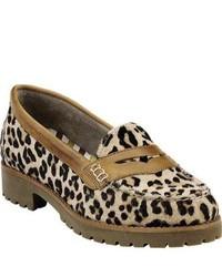 Beige Leopard Suede Loafers