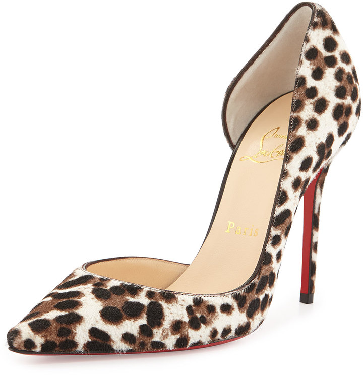 929427607e6 ... Christian Louboutin Iriza Calf Hair Dorsay Red Sole Pump Leopardwhite  ...